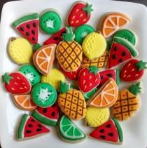 "wedding photo - Fruits mini sugar cookies or large 3.5"" with royal icing, strawberries, lemon,lime,kiwi,watermelon,pineapple"
