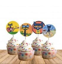 wedding photo - Pete the Cat Cupcake Toppers