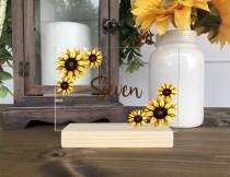 wedding photo - Sunflower Wedding Table Numbers / Personalized Clear Acrylic Floral Table Centerpiece (Item 2135FFA)