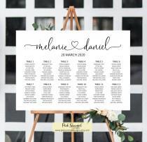 wedding photo - Wedding seating chart printable, seating chart wedding seating plan wedding signs heart, wedding decorations, decor, guest list sign, W46
