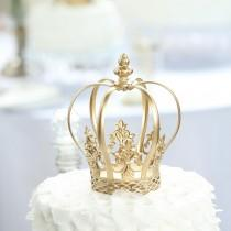 """wedding photo - 8"""" Gold Cake Toppers, Royal Crown Cake Toppers, Fillable Cake Crown, Metal Cake Toppers for Anniversary, Wedding, Birthday, Cake Decor"""