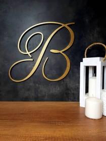 wedding photo - extra large wood letters wedding backdrop, decorative calligraphy gold wooden monogram wall hanging sign, custom cursive alphabet decor B