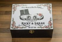 wedding photo - Black gothic wedding Card box, Personalized chest, Skulls Custom Keepsake Box, Halloween Wedding Card Memory box Favors box Day of the Dead