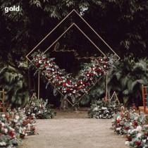 wedding photo - Diamond Wedding  iron arch Wedding geometry arch Ceremony Wedding Arch decor Gold colour metal arch Outdoor Wedding Arch wedding backdrop