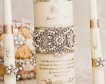 wedding photo - Pearl Wedding Unity Candle Set, Champagne Wedding Unity Candles Personalized Wedding Candle Set Wedding Décor
