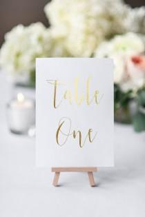 wedding photo - table number cards gold foil