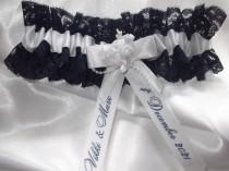 wedding photo - Personalised Navy Blue Lace And White Satin Wedding Garter Handmade to order with names and wedding date Nautical Wedding Made In The UK