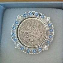 wedding photo - Lucky Sixpence Shoe Clip: Vintage style crystal or pearl wedding sixpence on a shoe clip inc. gift box