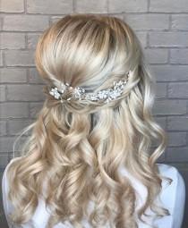 wedding photo - Emmy Silver Bridal Hair Vine-Silver Bridesmaid Hair Vine-Silver Wedding Hair Piece-Wedding Hair Accessories-Prom Hair Accessories