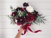 wedding photo - Wedding bouquet, Burgundy bouquet, Burgundy Wedding bouquet, Wedding Flowers, Deep red Wedding bouquet, Bouquet wedding burgundy