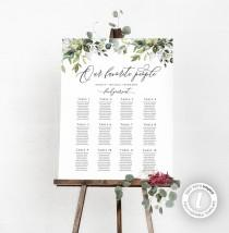 wedding photo - Wedding Seating Chart Poster Template, Editable, Our Favorite People, Greenery, Rustic, Boho, Instant Download, Horizontal, Vertical, BD44