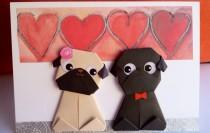 wedding photo - Personalised Origami Pug dog Wedding Card, Personalised Pug Engagement card, Handmade Funny Anniversary Card, For Boyfriend, Girlfriend