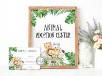 wedding photo - Safari Themed Adopt a Pet Certificate, Wild One Birthday Signs, INSTANT DOWNLOAD, Printables BRTH 238B
