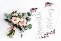 wedding photo - Wedding Program Template INSTANT DOWNLOAD Dusty Purple Blush Floral Wedding Order of Service Program Editable PDF Printable Templett #012