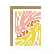 wedding photo - Love Birds 70s inspired wedding, engagement, anniversary card - Screen Printed Folding Celebration and Congrats Card