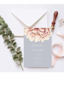 wedding photo - Peony invite, Wedding Invitation INSTANT DOWNLOAD, Wedding Invite, DIY Printable Invitation, Templett, Editable pdf, pink peony, grey