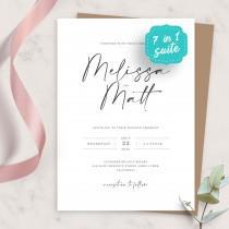 wedding photo - Wedding Invite, Simple Minimalist Wedding Invitation Suite, Printable Wedding Invites Template, Editable Invitation, PDF, JPG, PNG