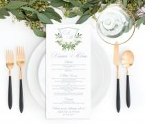 wedding photo - Printable Wedding Menu Template, Dusty Blue and Greenery Monogram Editable Menu, Classic Monogram Crest Wedding Menu, Botanical Wedding Menu