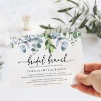 wedding photo - Eucalyptus Bridal Brunch Invitation, Instant Download, Printable Bridal Brunch Invite, Editable Landscape Invitation Greenery, Templett, C40