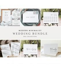 wedding photo - Modern Minimalist Wedding Bundle, Wedding Essential Templates, Simple Invitation Suite, 100% Editable, Instant Download, Templett 096-BUNDLE