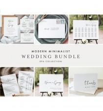 wedding photo - Modern Minimalist Wedding Bundle, Wedding Essential Templates, Simple Invitation Suite, 100% Editable, Instant Download, Templett 096-BUNDLE