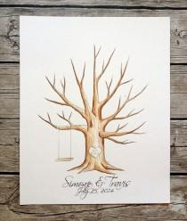 wedding photo - Original Wedding tree guestbook Guest Book fingerprint. hand painted - Customize
