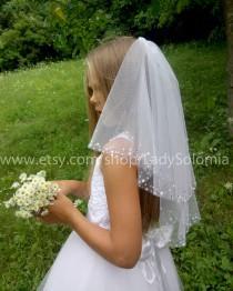 wedding photo - First communion Veil, Holy Communion, Mantilla communion, Little girls veil 2 tier communion veil white girls veil, white Flower girl veils