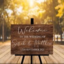 wedding photo - Rustic Wedding Welcome Sign, Wood Rustic Wood Wedding Sign, Welcome Wedding Signs, Personalised Wedding Sign