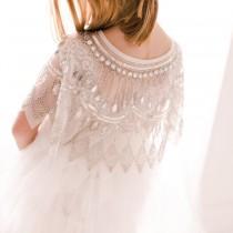 wedding photo - Romantic Flower Girl Capelet, Tulle Flower Girl Dress, Unique Christening Gown