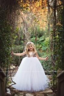 wedding photo - Flower Girl Dress Rose Gold Tulle Flower Girl Tutu Dress, Gold Blush Sequins, Rose Gold Flower Girl Tulle Dress