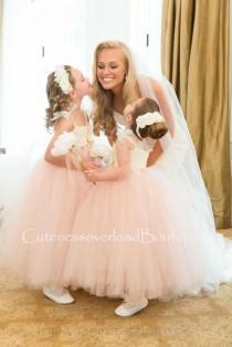 wedding photo - Blush Flower Girl Dress-Blush flower Girl dress-Blush girl dress-Blush pink flower girl dress-Ivory flower girl dress