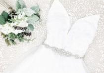 wedding photo - Silver Crystal Bridal Belt - Silver Wedding Belt - Wedding Dress Sash - first communion - Flower girl belt - Crystal Belt - Style: PARKER