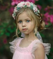 wedding photo - Blush Pink Flower Crown, Flower Tiara, Floral crown, Flower Halo, Bohemian flower crown, Bridal Crown, Flower girl Crown, Flower Headband