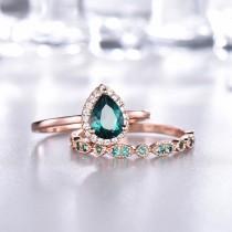 wedding photo - Pear Emerald Engagement Ring Set,Diamond halo,Plain Rose Gold Band,Emerald Wedding Band,Art Deco Wedding Band,Women Bridal Set,14K/18K Gold