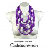 wedding photo - 20191541 Women's necklace Purple and white multiwire necklace layers relief statement necklace, resin bijoux by Omhandemade