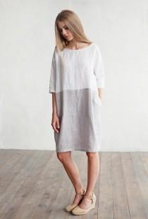 wedding photo - Linen dress ADRIA. Colour block in white and gray dress for women. Loose-fit linen, plus size dress. Linen womans clothing.