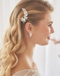 wedding photo - Crystal Bridal Hair Clip, Floral Crystal Wedding Hair Clip, Floral Bridal Hair Clip, Crystal Wedding Hair Clip,Bridal Hair Accessories ~2449