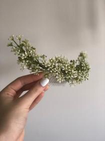 wedding photo - Baby breath comb, flower hair comb, greenery comb, wedding hair comb, greenery crown, olive leaf crown, flower comb, spring hair comb
