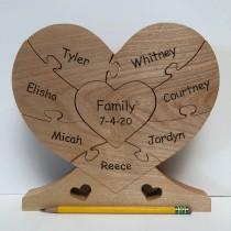 "wedding photo - LARGE Family Unity Puzzle, Wooden Heart Puzzle (8-1/2"" wide x 8"" tall) in 3 to 9 pieces--base included"