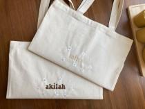 wedding photo - Custom Name Tote Bag With Flowers - Embroidery -Personalized Gift