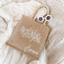 wedding photo - Flower Girl Tote Bag - Personalized Beach Bags for Girls Teen Girl Gift Bag Junior Bridesmaid Bag Floral Burlap Tote Jute Tote (EB3259FDO)