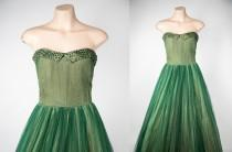 wedding photo - 1950s green tulle ballgown with sequins