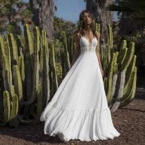 wedding photo - Spaghetti Straps Applique Beach Backless Boho Bridal Gown