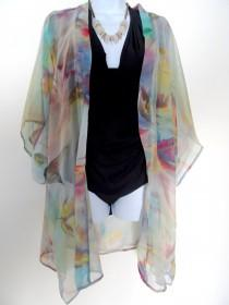 wedding photo - Pastel Silk Jacket - Silk Kimono - Mother of the Bride - Silk Duster - Sheer Lingerie - Plus Clothing