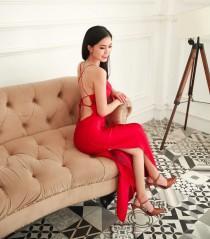wedding photo - Red carpet silk dress/Luxury 100% pure mulberry silk/backless dress/women party dress/cowl neck dress/summer dress/sexy side split dress