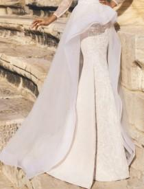 wedding photo - Detachable Tulle Hi Low Wedding Skirt/Removable Train