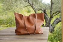 wedding photo - Leather Tote Bag Full Grain Leather Tote Bag Gift Cloud Oslo.