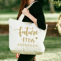 wedding photo - Bridal Tote Bag, Bridesmaid Tote Bag with zipper, Personalized Bride Tote Bag, Wedding Tote Bag, Gift for Bride