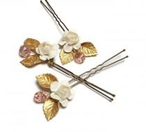 wedding photo - Set of 3 flower, leaf and crystal bridal hair pins, Wedding hair piece