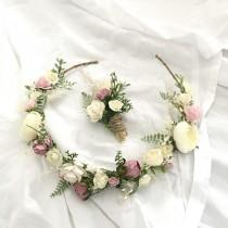wedding photo - Pink Mulberry Paper Roses Flower Crown with matchin Boutonniere / Wedding Flower Crown / Bridal Crown / Flower Girl Crown
